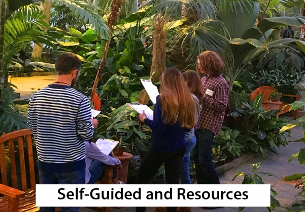 self-guided and resources -- high school students looking at tropical plants